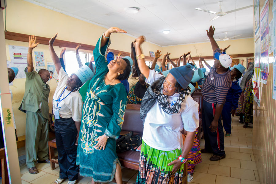 stretching exercise by participants of WDD in Nkwen Baptist Health Center