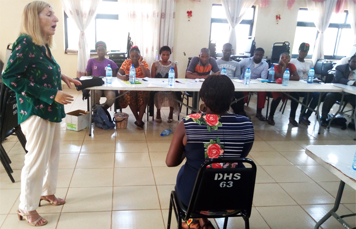 Resource persons from OCHA school drills participants on inclusive assistance