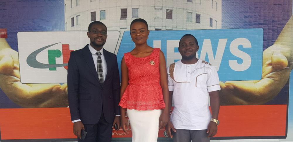 Media tour team, from left Ferdinant Mbiydzenyuy, Nadege Ngeh and Dr. Epie Njume
